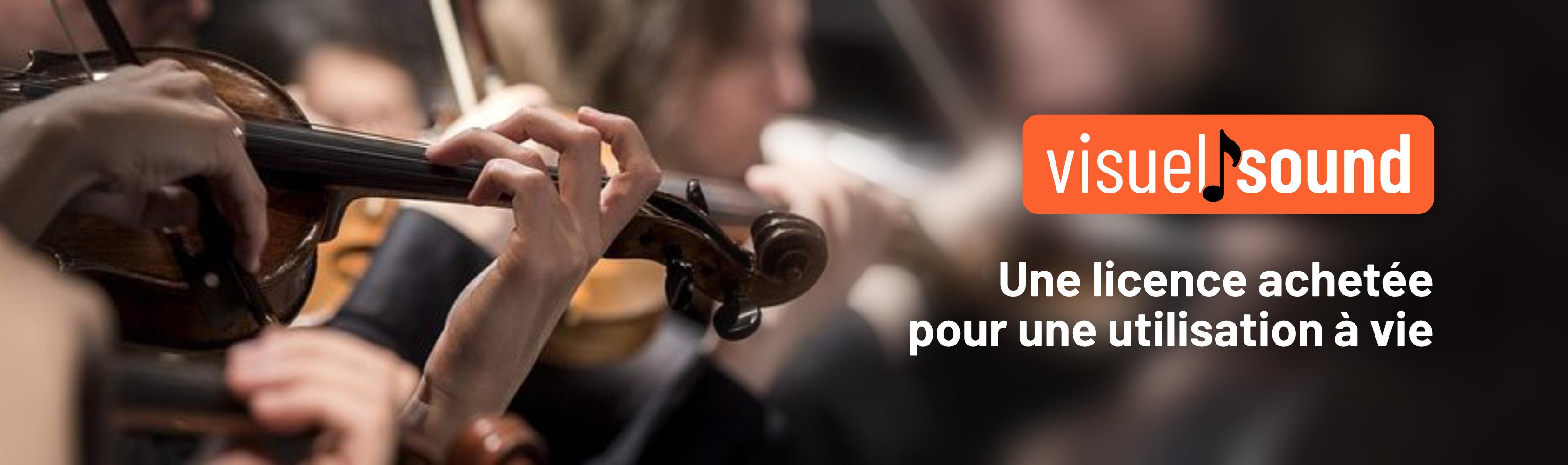 Second slide, Une violoniste dans un orchestre classique joue une musique libre de droit pour montage vidéo et un message indique une licence achetée pour une utilisation à vie