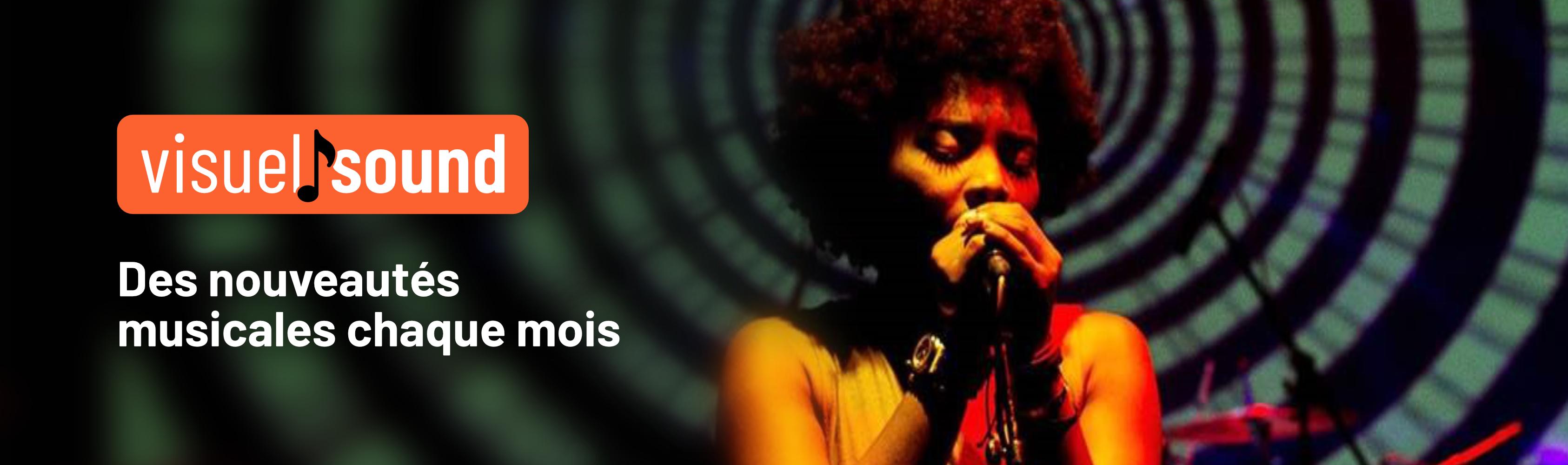 Second slide, Une chanteuse jazz chante une musique libre de droit et le message, des nouveautés musicales chaques mois